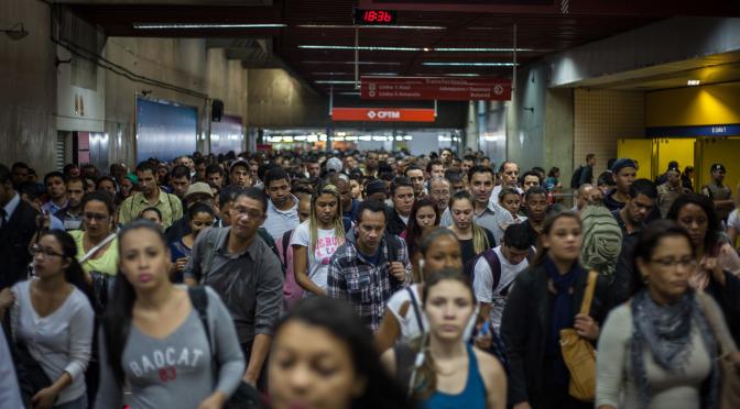 Rush hour at Estação da Luz, one of the busiest subway stations in Latin America.