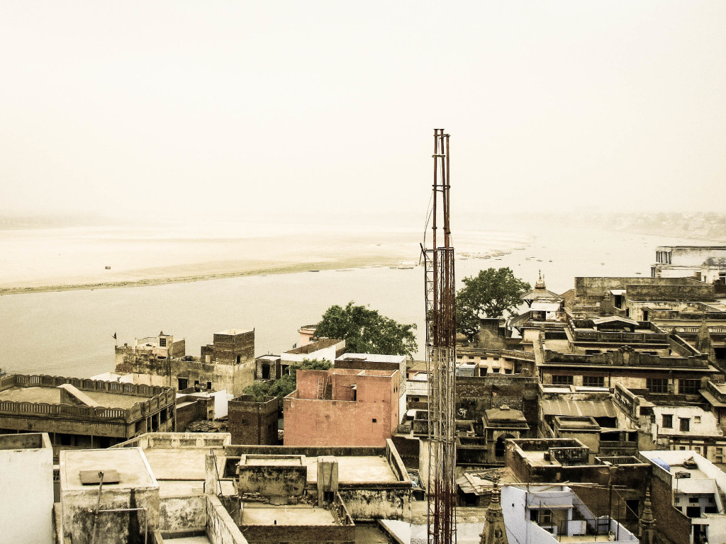 The view from Ganpati Guest House overlooking the old city as a sand storm approaches.